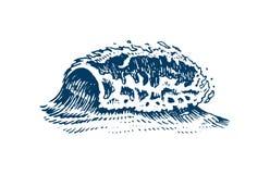 Atlantiska tidvattens- vågor Gamla inristade hand drog etiketter för tappning Marin- och nautisk eller för hav, hav bakgrund för  vektor illustrationer