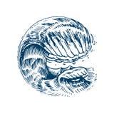 Atlantiska tidvattens- vågor Gamla inristade hand drog etiketter för tappning Marin- och nautisk eller för hav, hav bakgrund för  stock illustrationer