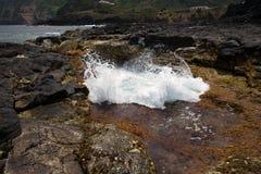 Atlantycki ocean żlobi skały na Sao Miguel, Azores obrazy royalty free