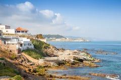 Atlantycki oceanu krajobraz, Gibraltar cieśnina, Maroko zdjęcia royalty free