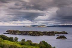 Atlantycki Oceean przeglądać od Drumbeg, Szkocja Fotografia Royalty Free