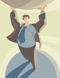 Atlas. Man in suit supporting globe like Atlas. Vector illustration vector illustration