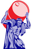 Atlas carrying a barrel of oil Royalty Free Stock Photo