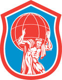 Atlas Carrying Globe on Shoulder Front Shield Retro Stock Photography