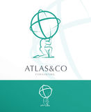 ATLAS, CORPORATE LOGO DESIGN. PREMIUM CORPORATE VECTOR LOGO / ICON DESIGN , ATLAS HOLDING THE WORLD royalty free illustration