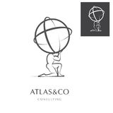 ATLAS, CORPORATE LOGO DESIGN. PREMIUM CORPORATE VECTOR LOGO / ICON DESIGN , ATLAS HOLDING THE WORLD, GREY COLORLESS DESIGN stock illustration