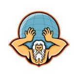 Atlas die Wereldmascotte steunen stock illustratie