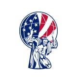 Atlas Dragende Bol met de Vlag van de V.S. royalty-vrije illustratie
