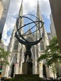 Atlas facing St. Patrick's Royalty Free Stock Photography