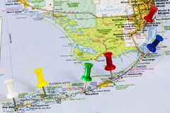 Florida Keys Miami map. Atlas guide Florida Keys Key West Miami Florida Atlantic Ocean Gulf of Mexico travel vacation map stock photo