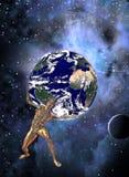 Atlas hält Planeten-Erde stock abbildung
