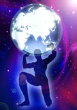 Atlas. Illustration of a man figure lifting up the Globes on cosmic background Royalty Free Stock Image