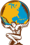 Atlas Lifting Globe Kneeling Woodcut. Illustration of Atlas kneeling carrying lifting globe world earth on his back set on isolated white background done in royalty free illustration