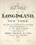 Atlas of Long Island. This is the front cover of an old Atlas that covered the area of Long Island,New York issued in 1873 Stock Photo