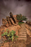 Atlas mountains in Morocco. A house in Atlas mountains in Morocco royalty free stock photography
