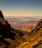 Atlas Mountains, Morocco, Africa. View from Tizi n` Ouagane at 3750m above sea level, just south of Jbel Toubkal. Taken in the morning light. Jbel Sirwa can be Royalty Free Stock Image