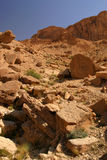 Atlas Mountains Tunisia. Arid dry blue sky rocks hot boulders north africa star wars Royalty Free Stock Images