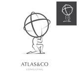 ATLAS, PROJETO INCORPORADO DO LOGOTIPO ilustração stock