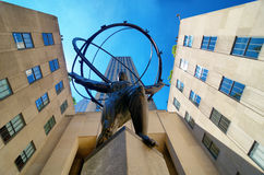 Atlas at Rockefeller Center. Extreme perspective pointing straight up from underneath the famous Atlas Sculpture at Rockefeller Center. Seen here as well is the Stock Photos