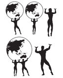 Atlas Silhouette. Illustration of male and female Atlas holding globe royalty free illustration