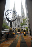 Atlas and St. Patrick Cathedral. Statue of Atlas in front of St. Patrick's Cathedral. At Rockefeller Center, New York Royalty Free Stock Photos