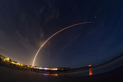 Atlas V rocket launch. A two minute time exposure of the Altas V launch from Cape Canaveral Air Force Station, Florida. The 19-story United Launch Alliance Atlas Stock Image