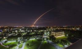 Atlas V trail, Melbourne, Florida. Atlas V rocket trail over night skies in Melbourne, Florida Royalty Free Stock Image