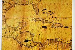 Atlas van de 12de eeuw Kaart van de Caraïbische en Van Centraal-Amerika streek De oude kaarten werden gecreeerd door vaklieden en vector illustratie