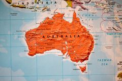 Atlas view of australia. An atlas snapshot showing australia and its areas royalty free stock image