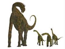 Atlasaurus Dinosaur with Babies vector illustration
