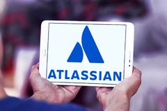 Atlassian Corporation logo. Logo of Atlassian Corporation on samsung tablet . Atlassian Corporation is an enterprise software company that develops products for Royalty Free Stock Image
