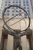 Atlasstatue auf fünfter Allee in Manhattan Stockbild
