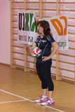 Atleet die de bal in het spel van volleyball voorbereidingen treffen te zetten Royalty-vrije Stock Afbeelding