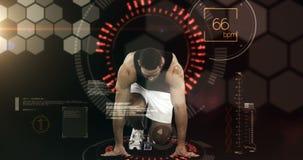 Atleet die van het startblok tegen geanimeerde achtergrond lopen stock footage