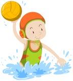 Atleet die waterpolo doen stock illustratie