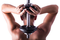 Atleet met gewichten in zijn handen Stock Afbeeldingen