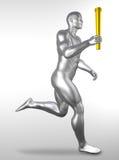 Atleet met olympische toorts Stock Afbeeldingen