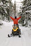 Atleet op een sneeuwscooter royalty-vrije stock foto's