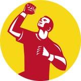 Atleet Retro Fist Pump Circle Royalty-vrije Stock Fotografie
