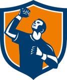 Atleet Retro Fist Pump Crest Stock Afbeeldingen