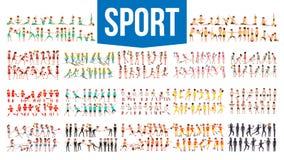 Atleet Set Vector Man, vrouw Groep Sportenmensen in Eenvormig, Kleding Karakter in Spelactie Vlak beeldverhaal royalty-vrije illustratie