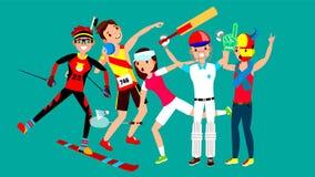 Atleet Set Vector Man, vrouw Het ski?en, Atletiek, Tennis, Honkbal, Fan Groep Sportenmensen in Eenvormig, Kleding stock illustratie