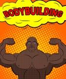 Atleta afroamericano en el estilo del arte pop Bodybuilde entrenado Imágenes de archivo libres de regalías