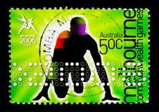 Atleta all'inizio, serie dei giochi di commonwealth di Melbourne, circa 2006 Immagini Stock Libere da Diritti