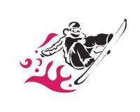 Atleta anticipado apasionado Logo de la técnica del salto de la snowboard de los deportes de invierno Imagen de archivo