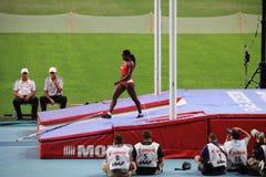 Atleta após o salto com vara Imagem de Stock