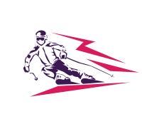 Atleta apasionado Logo de Ski Player In High Speed de los deportes de invierno Imágenes de archivo libres de regalías