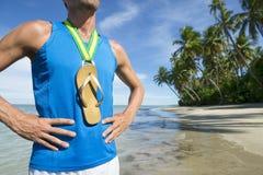 Atleta Beach de Flip Flop Gold Medal Brazilian imagem de stock