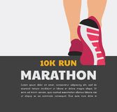 Atleta biegacza cieki biega lub chodzi na drodze działający plakatowy szablon zbliżenie ilustraci wektor ilustracja wektor