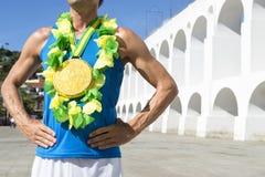 Atleta brasileiro Rio Brazil da medalha de ouro fotos de stock